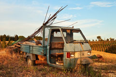 A car wreck. An abandoned car at countryside Royalty Free Stock Photos