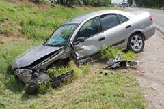 Car wreck. Near to road Stock Images