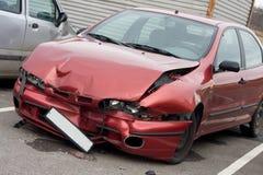 Car wreck. Red car wreck detail outdoor Stock Photos