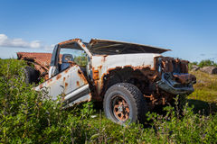 Car Wreck. An abandoned rusty old pick up truck located at Reykjanes peninsula, Iceland Stock Image