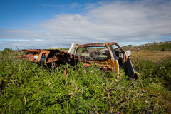 Car Wreck. An abandoned rusty old pick up truck located at Reykjanes peninsula, Iceland Royalty Free Stock Images