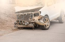 Car wreck accident on the road . Want to repair the skill.  Royalty Free Stock Images
