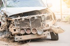 Car wreck accident on the road . Want to repair the skill Stock Photos
