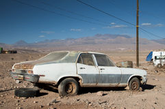 Car wreck on Atacama desert, Chile Royalty Free Stock Photos