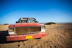 Car wreck on the beach of El Cabo De La Vela Royalty Free Stock Image
