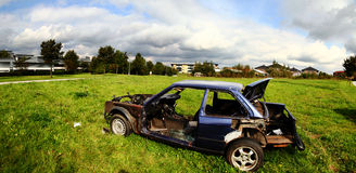 Car wreck burned out vehicle Stock Photography