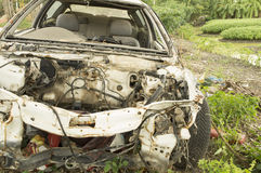 Car wreck crash crush die collision drunk damage fix loss Stock Photography