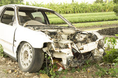 Car wreck crash crush die collision drunk damage fix loss Stock Images