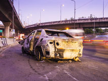 Car wreck damaged by fire in accident Royalty Free Stock Photos