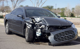 Car wreck damaged after road accident Stock Photos