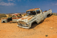 Car wrecks on desert in Namibia Royalty Free Stock Images