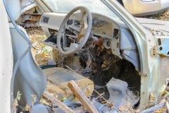 Car wreck at a junkyard royalty free stock photo