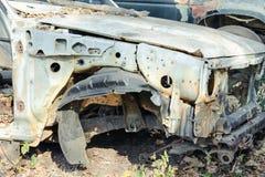 Car wreck at a junkyard royalty free stock photography