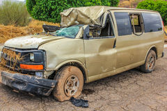 Car wreck. Destroyed cars and covered with mud during the tropical storm named Juliette, 28 August 2013, Loreto, Baja California Sur, Mexico Stock Photos