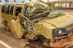 Car wreck. Destroyed cars and covered with mud during the tropical storm named Juliette, 28 August 2013, Loreto, Baja California Sur, Mexico Royalty Free Stock Photography
