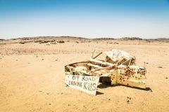 Car wreck in namibian desert Royalty Free Stock Photo