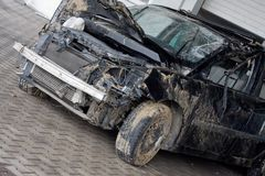 Car wreck outdoor Royalty Free Stock Photography