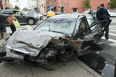 Car wreck in Queens New York Royalty Free Stock Images