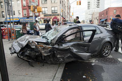 Car wreck in Queens New York Stock Images