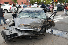 Car wreck in Queens New York Stock Photo