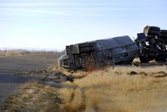 Car Wreck Semi Truck Rolled Over Crash Crashed Wrecked stock images