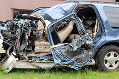 Car Wreck Texting Driver Stock Photo