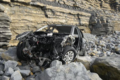 Car Wreckage. Car at bottom of cliff Royalty Free Stock Image