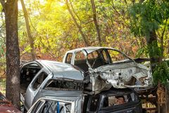 Car wreckage with trees. royalty free stock image