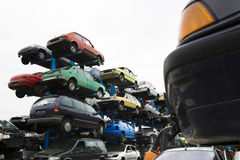 Car wrecks at the junkyard Royalty Free Stock Photos