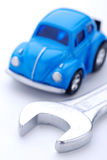 Car and wrench Royalty Free Stock Image