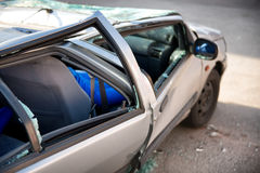 Car written off in a traffic accident Royalty Free Stock Image
