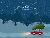 Car with Xmas Tree for Christmas and New Year. Stock Images