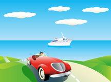 Car and yacht background. Stock Photo