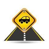 Car yellow road street sign Royalty Free Stock Photography