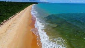 CaraÃva,巴伊亚,巴西:一个美丽的海滩的鸟瞰图与水的两种颜色的 股票录像