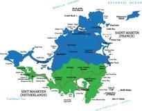 Caraïbisch eiland van de kaart van Heilige Martin Stock Afbeelding