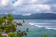 Caraïbisch landschap in regenachtig bewolkt weer royalty-vrije stock foto