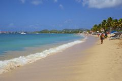 Caraïbisch panorama van de baai van Rodney in St Lucia, Royalty-vrije Stock Foto's