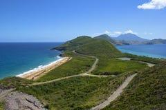Caraïbisch panorama van St. Kitts.and.Nevis, Royalty-vrije Stock Foto's