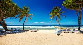 Caraïbisch strand en tropische overzees in Haïti stock foto