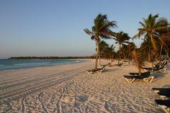 Caraïbisch strand met palmen en stoelen Royalty-vrije Stock Foto's