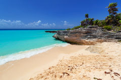 Caraïbisch strand in Playa del Carmen Royalty-vrije Stock Afbeeldingen
