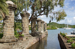 Caraïbische Nelsonswerf, Antigua en Barbuda, Stock Foto's