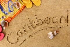 Caraïbische strandachtergrond Stock Afbeeldingen