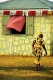 Caraïbische Vrouw bij Landbouwmarkt royalty-vrije stock afbeelding