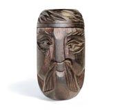 Cara étnica humana de madera hecha a mano Imágenes de archivo libres de regalías