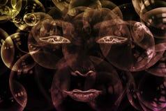 Cara abstracta con las burbujas Fotos de archivo libres de regalías