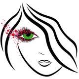 Cara abstracta de la muchacha con el ojo verde y los floretes de Sakura Foto de archivo libre de regalías