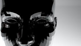 Cara abstracta de la mujer con el ejemplo de la textura 3D del metal ilustración del vector