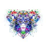 Cara abstracta y mística de la mujer en máscara en fondo colorido de la forma del corazón stock de ilustración
